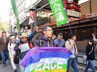 昨年の11・3憲法集会(円山音楽堂)後、デモ行進する大河原さん