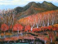 研義治油絵個展 日本の自然を描く・古希記念より『紅葉の乗鞍岳』(30号F)