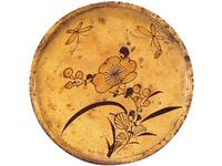 瀬戸花蝶文行灯皿(江戸時代19世紀)