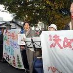 名曲BGMに石村さん、共産党広げよう 伏見でうたごえ宣伝