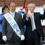 大激戦、府知事選/佐高信氏が福山候補応援「福山さんを知事にして京都からまともな政治取り戻そう」