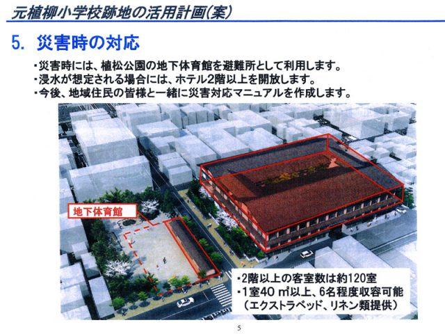 京都市・元植柳小跡地ホテル建設 地下の避難所は不適切 契約取り消し求め住民が市議会に陳情