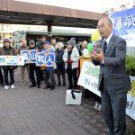 【京都市長選】「知恵は現場にある、市民と双方向で政策つくる」 西京区で福山和人さんが街頭タウンミーティング