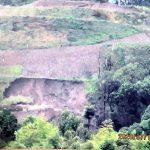 違法造成の山頂が崩落 伏見区・大岩山 共産党「緊急の安全対策」「住民が求める土砂撤去を」